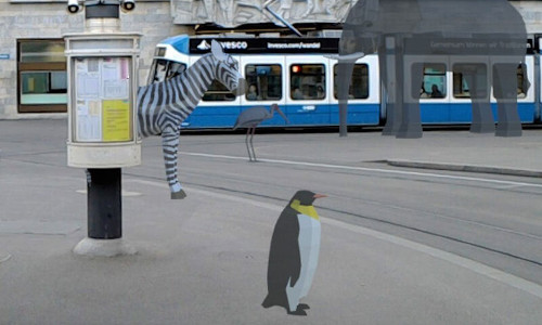 Virtual animals roaming the streets.